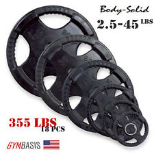 Original Body-Solid Set 355 lbs of Rubber Grip Olympic Weight Plates 2.5-45lb.