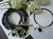10 MELANOMA SKIN CANCER AWARENESS  BRACELETS/BLACK/'HOPE' RIBBON CHARM/HEART