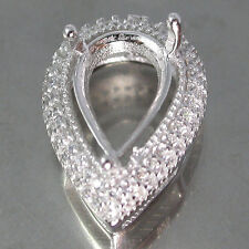 Pear 12x7mm~Sterling Silver925 Ring Top White CZ Semi Mount Pendant Setting