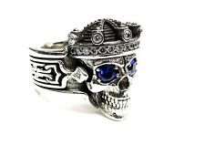 Men's Silver Skull  Ring With  Diamonds & Sapphires Limited Edition