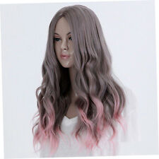 Full Long Curly Hair Style Wigs Cosplay Party Costume Wigs Gray And Pink AO