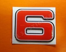 3D Stickers Resin Domed NUMBER 6 SIX - Color Red - 50 mm(2 inches) Adhesive
