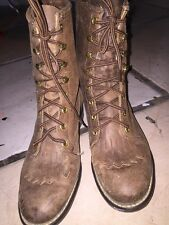 DISTRESSED BROWN LEATHER LACE UP GRANNY KILTIE WESTERN BOOTS 7