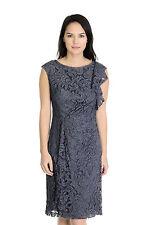 4 Adrianna Papell Illusion Lace Sleeveless Ruffle Dress w/Gathered Waist Ruffle