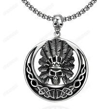 Brand Men's Indians Skull Round Pendant 316L Stainless Steel Rope Chain Necklace