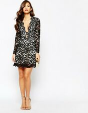 Jarlo Aria All Over Lace Plunge Front Skater Dress £90 UK 10/EU 38/US 6