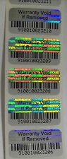 100 Warranty Void BARCODE Security Hologram Tamper Evident Label Stickers Seals