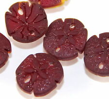 2 Sea Glass Sand Dollar 21x19mm  Pendant Beads  CHERRY RED (2 Pieces)