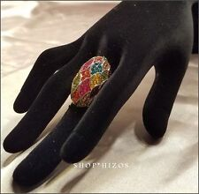 MULTI COLOR GEM RHINESTONE OVERSIZED DOME COCKTAIL STRETCH SILVER RING NEW