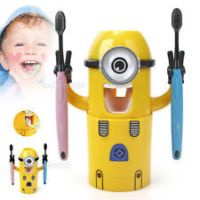Automatic Toothpaste Dispenser Despicable Me Minions + 2 Toothbrush Holder Set