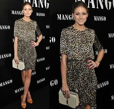 MANGO LEOPARD ANIMAL PRINT BLOUSE SHIRT TOP OLIVIA PALERMO BLOGGERS SIZE S 8