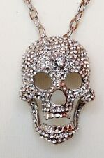 LARGE SILVER SKULL NECKLACE / CLEAR CRYSTALS / STATEMENT CHAIN GOTH PUNK PENDANT
