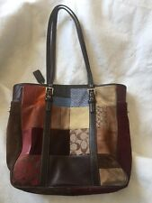 COACH Leather Suede Fabric PATCHWORK Satchel Tote Purse Bag
