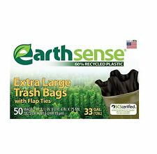 EarthSense 33 gallon Black Trash Yard Garbage Bags 50 ct Heavy Duty Low Density