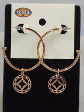 Fossil Brand Rose Goldtone Stainless Steel Signature Charm Hoop Earrings JF00009