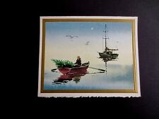 Vintage Unused Xmas Greeting Card Bringing Tree Home in a Boat on the Cape, Nice