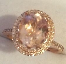 2.36CT   Natural Morganite & Natural  Diamonds in 10K Solid Rose Gold  Ring