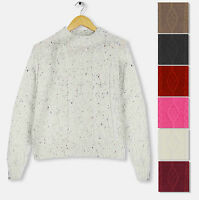 Womens Ladies New Cable Chunky Knitted Jumper Top Knit Sleeve Long Pull Over
