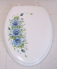 HAND PAINTED  ROSES/TOILET SEAT/ELONGATED WHITE/ BLUE ROSES/NEW
