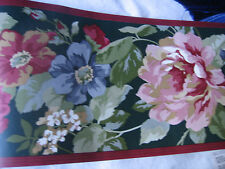 Deep Red, Pink and Green Flowers on Black w/ Red Edges Wallpaper Border