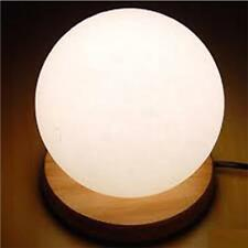 """Himalayan Salt Lamp with Wooden Base – Ball Shape – White – Approx 5.5"""" Tall"""