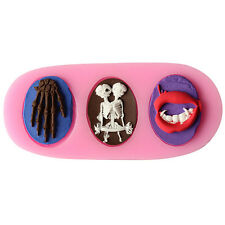 New 3D Skull Human Skeleton Silicone Chocolate Cake Cookie Candy Mold Mould