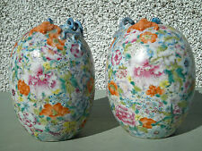 RARE PAIR OF ANTIQUE CHINESE FAMILLE ROSE EGG SHAPED VASE APPLIED DRAGON & BAT