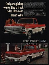 1970 FORD RANGER XLT Red & White Pickup Truck - Hauling Fire Wood VINTAGE AD