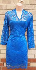 NUOWEISI BLUE FLORAL LACE BODYCON PENCIL TUBE FORMAL PARTY ELEGANT TEA DRESS 18