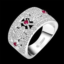 women's 925 silver ring red crystal fashion jewelry party gift size Q