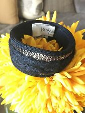 YSL Yves Saint Laurent Fabric Wool Knit Sequin Bangle Bracelet Cuff Boho Bangle