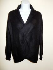 NEIMAN MARCUS 100% CASHMERE BLACK LONG SLEEVES SHAWL FAUX CABLE WRAP SWEATER M/L