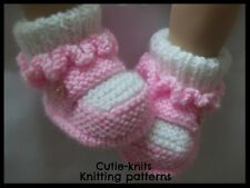 KNITTING PATTERN no 3b To knit baby / reborn  booties in 3 sizes  (INSTRUCTIONS)