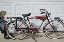 1958 SCHWINN RED PHANTOM BIKE-RARE FRONT DISC DRUM BRAKE-HORN TANK-TRAIN LIGHT