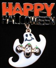 HAPPY HALLOWEEN JACK O LANTERN RIO SPOOKY FLYING GHOST  PIN BROOCH DANGLES 2""