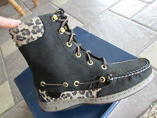 NEW SPERRY TOP-SIDER HIKERFISH BLACK LEOPARD MID  BOOTS WOMENS 6  9531393