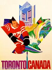 Toronto Canada Canadian by Airplane Vintage Travel Art Poster Advertisement