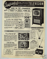 """1949 PAPER AD Imperial TV Television Set 16"""" Console 10"""" 12 1/2"""" Table Model"""