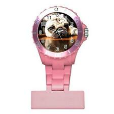 Pug Puppy Dog Round Womans Pink Nurse Watch