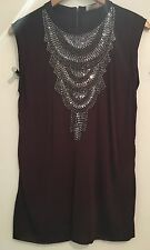 RABENS SALONER SILKY PLUM TOP W TAPE BACK ZIP SILVER JEWELLED FRONT S OR M £189