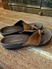 MERRELL Thongs Jesus Toe Strappy Flats WOMENS LEATHER SANDALS Shoes SIZE 6 ❤️