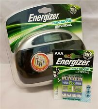Energizer Universal Battery Charger + 4 AAA 800mAh Batteries NEW AA AAA 9V C D