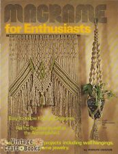 Macrame for Enthusiasts Vintage Pattern Book Hanging Chair Plant Hanger Wall NEW