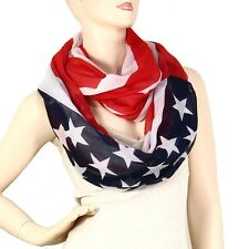 American Flag Scarf Pashmina Stars Stripes RED WHITE BLUE Infinity Circle USA
