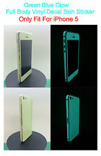 iPhone 5 * Green Blue * Glow in the dark Full Body Skin Shield