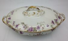 CH Field Haviland Limoges Covered Vegetable Bowl/Lidded Tureen Purple Violets