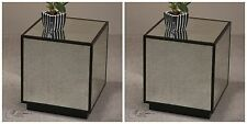 TWO RICH  ANTIQUED MIRROR CUBE ACCENT SIDE DISPLAY TABLE AGED BLACK OVER RED
