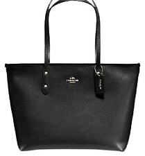 NEW COACH BLACK CITY ZIP TOTE IN CROSSGRAIN LEATHER F58846 $295