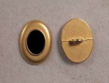 "Set of 6 JHB Gold Oval Metal Buttons Black Cntr 13/16 X 9/16"" 20 X 15 mm lyk0011"