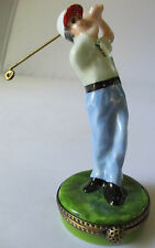 LIMOGES FRANCE PEINT MAIN GOLFER PORCELAIN TRINKET BOX - NEW